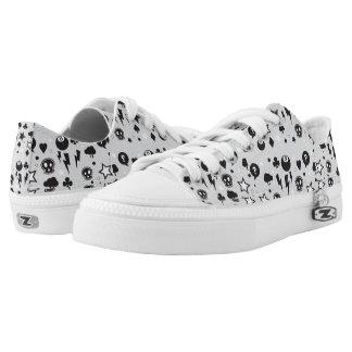 Women's skull pattern zipz Low Tops shoes