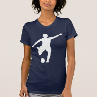 Women's Soccer Logo (White on Blue) Tee Shirts