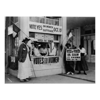 Women's Suffrage at a Vote Booth in 1915 Poster