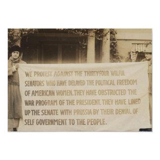 Women's Suffrage Banner in Washington D.C. 1918 13 Cm X 18 Cm Invitation Card