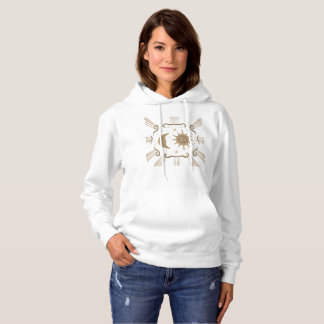 Women's sun and moon spiritual hoodie design.