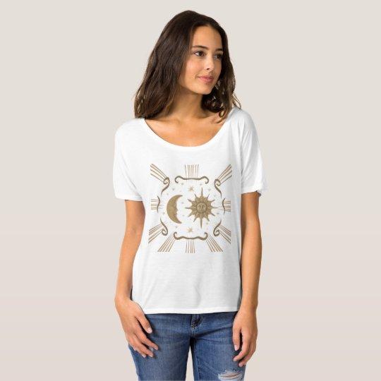 women's sun and moon, spiritual shirt design.