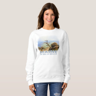 Women's Sweatshirt Maine Coastal Ocean Beach