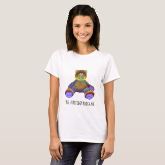 Womens t-shirt white teddy bear colorful