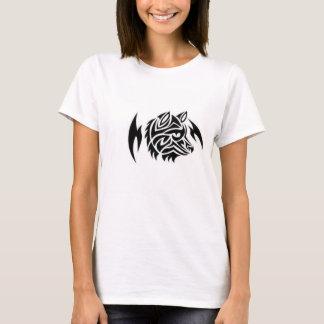 Womens T-shirt With Tribal Wolf