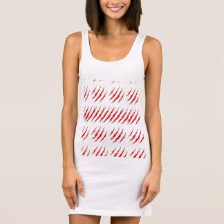 Women's Tank Dress White, Red Tiger Stripes