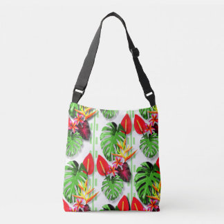 Women's Teen Beautiful Trendy Tropical Leaf Flower Crossbody Bag