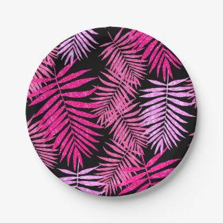Womens Teen Girls Faux Glitter Palm Tree Leaf 7 Inch Paper Plate