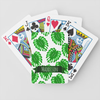 Womens Teen Girls Green Tropical Leaf Personalized Bicycle Playing Cards