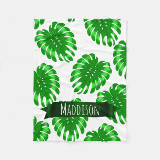 Womens Teen Girls Green Tropical Leaf Personalized Fleece Blanket