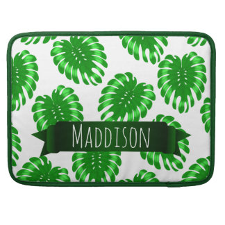 Womens Teen Girls Green Tropical Leaf Personalized Sleeve For MacBook Pro