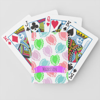 Women's Teen Girls Personalized Pastel Tropical Bicycle Playing Cards