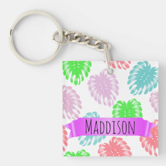Women's Teen Girls Personalized Pastel Tropical Key Ring