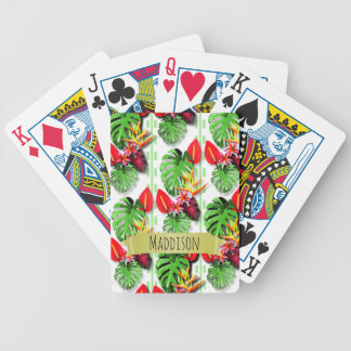 Women's Teen Girls Personalized Tropical Leaf Bicycle Playing Cards