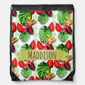 Women's Teen Girls Personalized Tropical Leaf Drawstring Bag