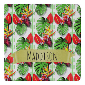 Women's Teen Girls Personalized Tropical Leaf Trivet