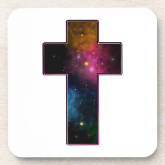 Women's Teen Girls Trendy Christian Cross Galaxy Coasters