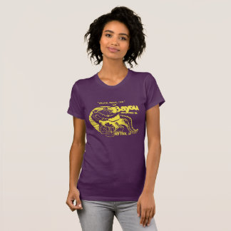 "Women's ""The Bayou"" tee in Purple and Gold."