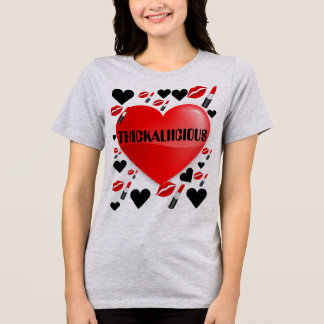 Womens Thickalicious Red Heart White T-shirt