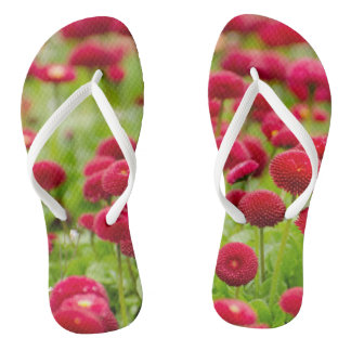 Women's trendy red summer  flower   flip flops