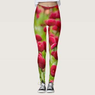 Women's trendy red summer flower   leggings