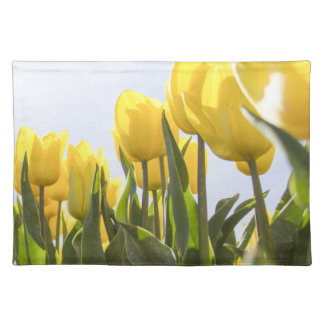 women's trendy yellow rose flower  cloth place mat