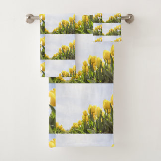 women's trendy yellow rose flower towel set