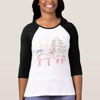 Womens TShirt 3/4 Sleeve Christmas Reindeer Joy