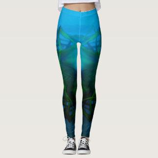 Women's Turquoise, Black, Green Design Leggings