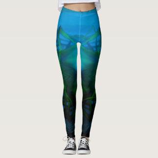 Women's Turquoise, Green, Black Shadow Leggings