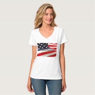 Women's US Flag Indivisible Hanes V-Neck T-Shirt