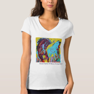 Women's V-neck T-shirt with painting on front.