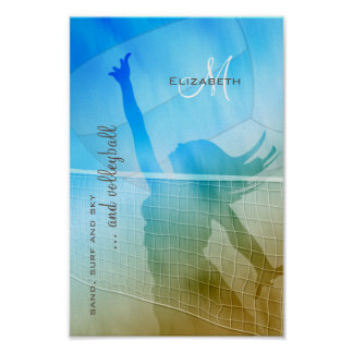 women's volleyball at the beach sand surf sky poster