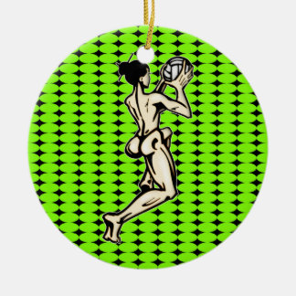 Womens Volleyball Double-Sided Ceramic Round Christmas Ornament