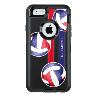 women's volleyball red white blue OtterBox defender iPhone case