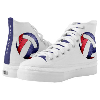 women's volleyball red white blue printed shoes