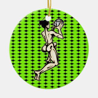 Womens Volleyball Round Ceramic Decoration