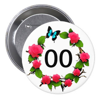 Womens Whimsical Rose 18th 21st 30th 40th Birthday 7.5 Cm Round Badge
