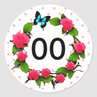 Womens Whimsical Rose 85th 88th 89th 90th Birthday Round Sticker
