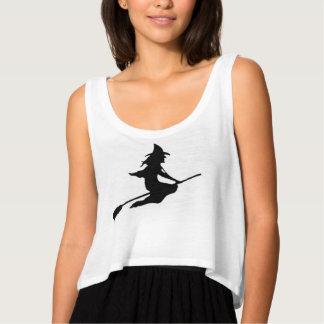Women's white, crop tank top design witch