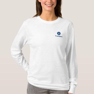 Women's White Long Sleeve Hooded T-Shirt w/Logo
