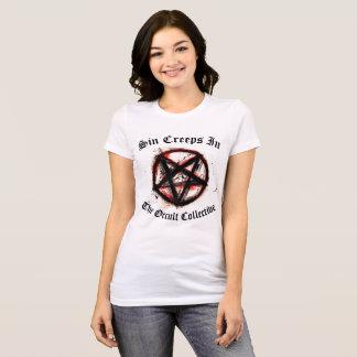 Women's White Sin Creeps In Pentagram Tshirt