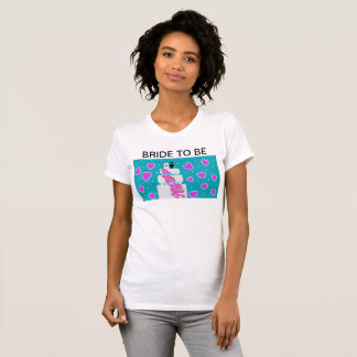 """womens white t shirt with """"bride to be"""" heading"""