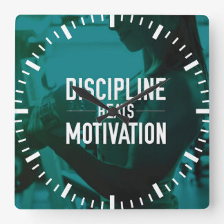 Women's Workout - Discipline Beats Motivation Square Wall Clock