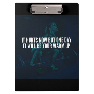 Women's Workout Motivation - Hurts Now, Warm-Up Clipboard