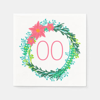Women's Wreath 60th 70th 80th 85th 90th Birthday Paper Napkin