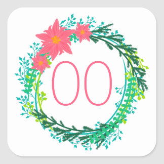Women's Wreath 60th 70th 80th 85th 90th Birthday Square Sticker