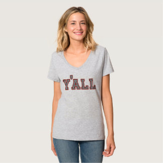 Women's Y'ALL Houndstooth V-Neck T-Shirt
