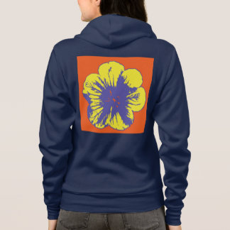 Women's Yellow/Blue Flower Zipped Hoodie