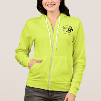 Women's Yellow Zip Hoodie Company Logo Branded